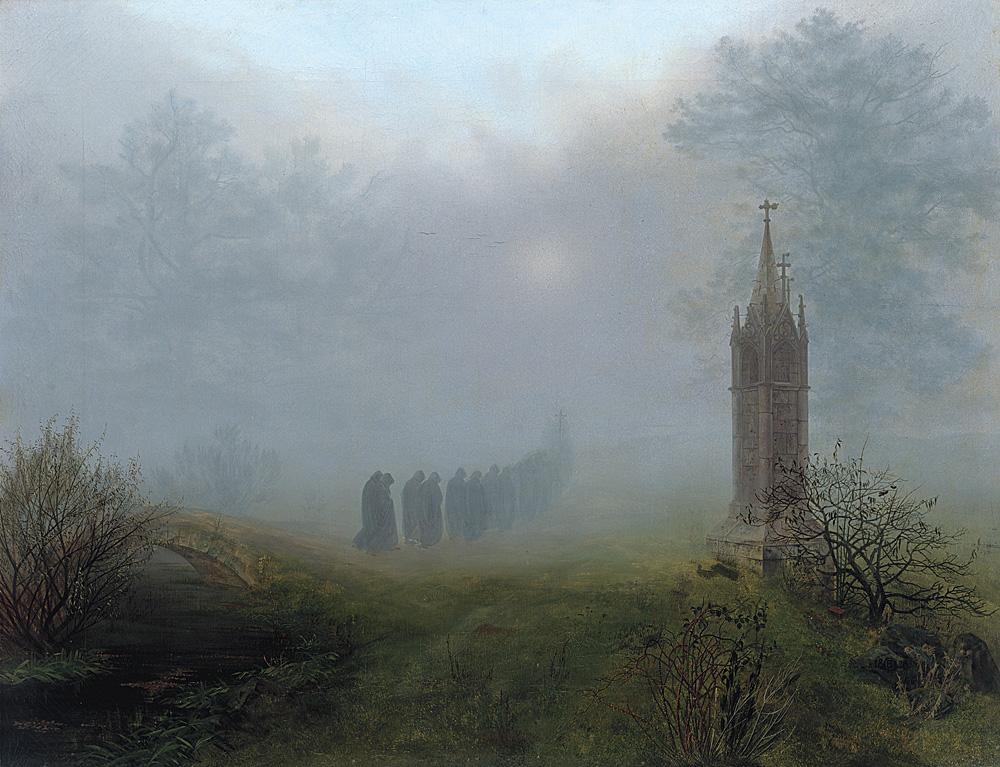 Ernst Ferdinand Oehme (1797–1855) Prozession im Nebel, 1828 Öl auf Leinwand, 81,5 × 105,5 cm Galerie Neue Meister, Staatliche Kunstsammlungen Dresden