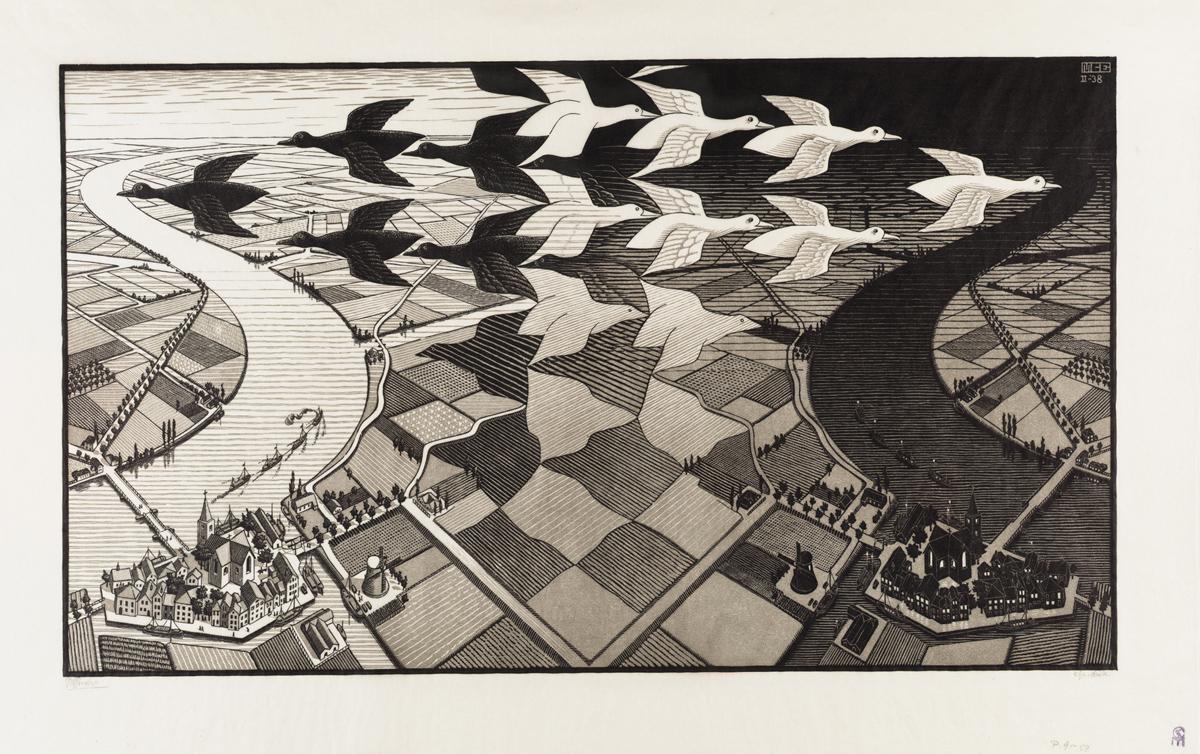 Tag und Nacht, 1938, Holzschnitt, 39,1 x 67,7 cm